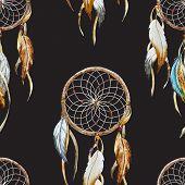 foto of dreamcatcher  - Beautiful vector pattern with nice watercolor dreamcatcher - JPG