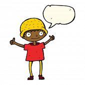 stock photo of attitude boy  - cartoon boy with positive attitude with speech bubble - JPG