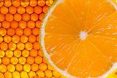 stock photo of honeycomb  - yellow honeycomb with fresh honey and lemon  - JPG