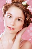 foto of braids  - Portrait of a beautiful girl with braided hair wearing summer sundress - JPG