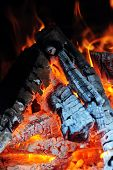 stock photo of ember  - Burning down fire. Last embers and ashes