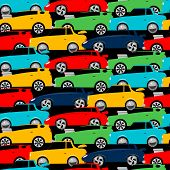 foto of street-rod  - Street racing cars stacked in a seamless pattern  - JPG
