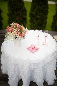 stock photo of wedding table decor  - wedding decor table at restaurant with all beauty and flowers - JPG