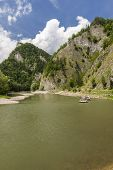 stock photo of pieniny  - Dunajec, beautiful Mountain river on the border of Poland and Slovakia in Pieniny Mountains ** Note: Soft Focus at 100%, best at smaller sizes - JPG