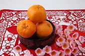 picture of mandarin orange  - mandarin oranges on the red paper cutting - JPG