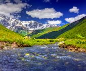 ������, ������: Fantastic Landscape With A Blue River In The Mountains