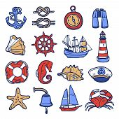 stock photo of nautical equipment  - Nautical sketch decorative icon set with anchor rope compass binoculars isolated vector illustration - JPG