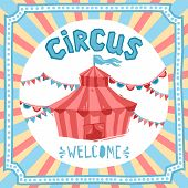 foto of circus tent  - Circus retro poster with performance tent and decoration vector illustration - JPG