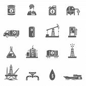 picture of fuel tanker  - Oil gasoline and fuel extraction industry black icon set isolated vector illustration - JPG