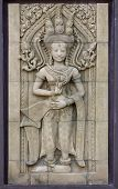 picture of carving  - apsara dancers statue stone carving angkor wat cambodia - JPG