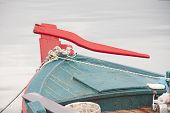 picture of rudder  - The colourful rudder of a wooden fishing boat in Greece - JPG
