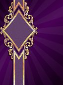 Vertical diamond shaped purple banner with gold filigree
