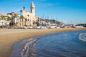picture of church  - The church and the beach in Sitges - JPG
