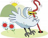 Bird catching worm cartoon