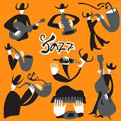 Постер, плакат: jazz musicians vector illustrations