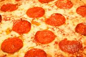 stock photo of pizza parlor  - Itailain Pepperoni Pizza with cheese - JPG