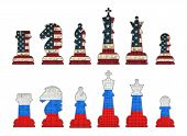stock photo of chess piece  - Chess pieces with USA flag and Chess pieces with Russia flag.