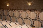 picture of wine cellar  - The Wine cellar with barrels in stacks - JPG