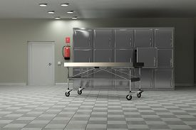 stock photo of autopsy  - 3d rendering of a macabre autopsy room - JPG