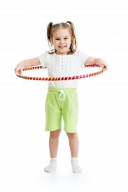 picture of hulahoop  - kid girl doing gymnastic with hoop on white background - JPG