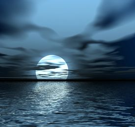 foto of fantasy landscape  - abstraction night landscape with moon and water - JPG