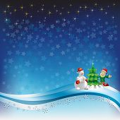 image of seasons greetings  - christmas greeting with snowman and dwarf on blue - JPG