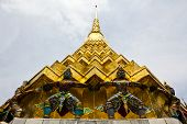 Giant Stand Around Pagoda Of Thailand At Wat Prakeaw
