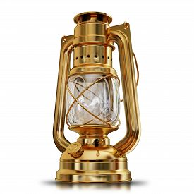 picture of kerosene lamp  - illustration of a gold Antique kerosene lamp isolated High resolution 3d - JPG