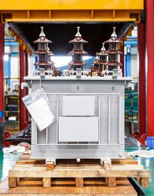 picture of hermetic  - Three phase corrugated fin hermetically sealed type oil immersed transformer in production Line - JPG
