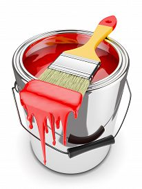image of paint pot  - Paint brush on can with red paint isolated on white background 3d - JPG