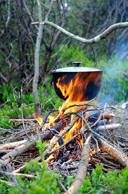 image of cauldron  - Cooking in the nature - JPG