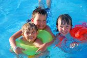 Three Children In Pool