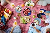 Group of humans with drinks gathered by dinner on picnic cloth poster