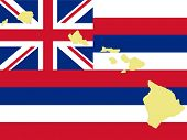 map of Hawaii and Hawaiian flag illustration