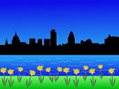 London skyline in springtime with daffodils in bloom
