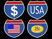 moneda americana surtido y símbolos de la bandera basados en signo interestatal