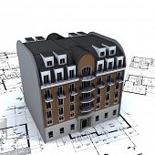 Residential building in bricks and stone on top of architect blue prints