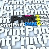 3D rendering of the word print in white and different colors, ideal for backgrounds