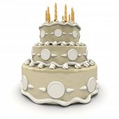 3D rendering of  a impressive wedding three floor cake in white and cream