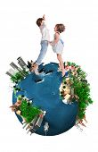 Young boy and girl happily jumping in a world map ecology oriented