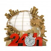 3D rendering of the Earth full of packages a pile of boxes and the words 24Hrs and a chronometer