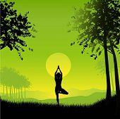 Fêmea em posição de ioga contra céu pôr do sol