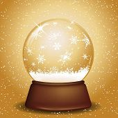 Golden Christmas snowglobe with falling snowflakes