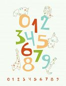Vector Numbers Nursery Poster with baby safari animals