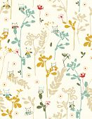 Vector Garden with birds (Seamless Pattern)