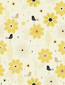 Vector Bird Garden (Seamless Pattern)