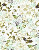 Vector seamless pattern displaying Japanese garden.