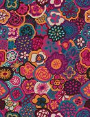Vector seamless pattern displaying bold flowers