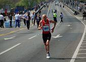 BELGRADE, SERBIA - APRIL 17: An unidentified woman runs in 24th Belgrade Marathon