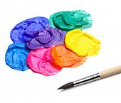 artist brush and abstract acrylic paint